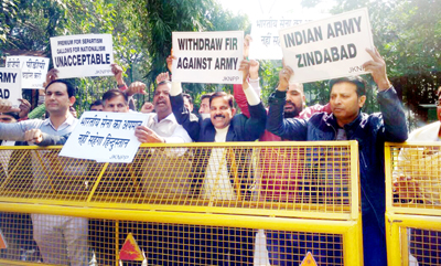 Panthers Party activists protesting at Jantar Mantar, New Delhi on Friday.