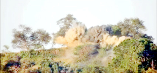 Pakistani posts and bunker go in flames in Indian Army action across Balnoi Sub sector of Poonch district. Another pic on page 6.
