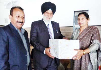 Amarjeet Singh being honoured in Jammu on Thursday.