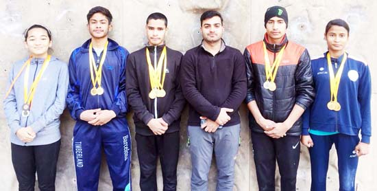 J&K sport climbers posing for group photograph after their excellence in prestigious event.