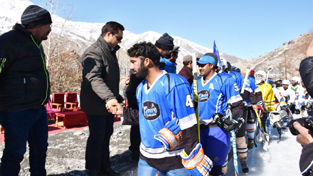 CEC Kargil, Advocate Mohammad Amir inaugurating the 10th CEC Ice Hockey Rolling Cup on Monday.