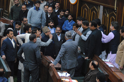 NC and BJP members during heated exchanges in the Assembly on Saturday. —Excelsior/Rakesh
