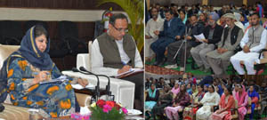 Chief Minister Mehbooba Mufti during public outreach programme at Reasi on Wednesday.