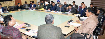 Chief Secretary B B Vyas chairing a meeting at Jammu on Thursday.