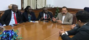 The members of African delegation holding a meeting with Union Minister Dr Jitendra Singh to discuss various possible areas of mutual engagement at New Delhi.