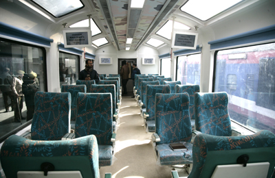 Inside look of glass roofed train. —Excelsior/Shakeel