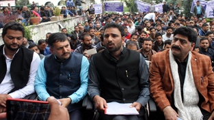 AJKPA leaders addressing a press conference during a sit-in protest in DC Office Complex at Jammu. -Excelsior/Rakesh