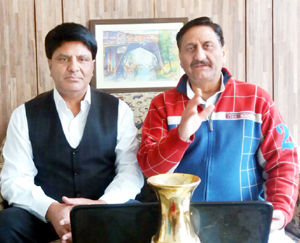PK president, Ashwani Kumar Chrungoo and its national spokesperson, Virender Raina during a meeting of organisation at Jammu on Sunday.