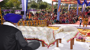 Head priest addressing religious gathering during a function at Domana Gurudwara on Sunday.