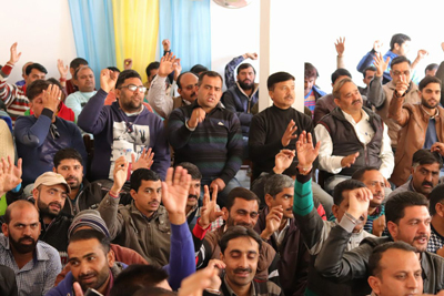 Members of ReT Teachers Forum raising slogans in support of their demands during monthly meeting on Sunday.