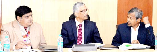 Union Secretary, Parameswaran Iyer and CS BB Vyas chairing a meeting with DCs at Jammu on Wednesday.