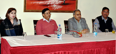 Chief Commissioner of Income Tax Amritsar Narender Singh along with officers of IT Department J&K circle interacting with businessmen and hoteliers at Katra on Saturday.