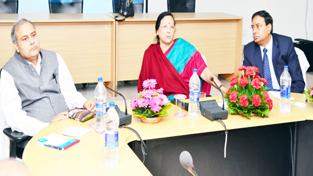 Principal Chief Commissioner of Income Tax NWR Madhu Mahajan chairing a meeting at Jammu on Tuesday.