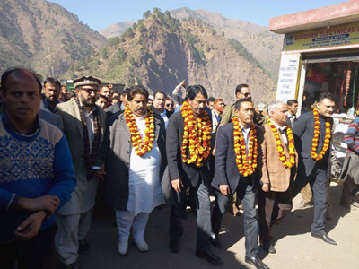 PCC chief GA Mir, senior leaders Rigzin Jora, Raman Bhalla, Ajaz Khan and others at a rally in Dharmari area of Mahore on Sunday.