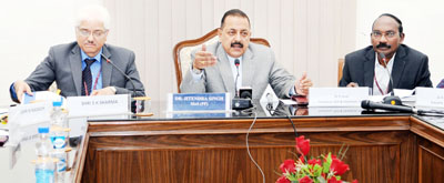 Union Minister Dr Jitendra Singh, flanked by Chairman ISRO Dr K. Sivan and senior scientists from Space and Atomic Energy, at a press conference, at New Delhi on Friday.