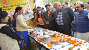 Minister for PHE, Sham Lal Choudhary inspecting stalls at exhibition-cum-mela at Kathua on Saturday.