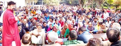 Minister for Forest, Ch Lal Singh addressing a gathering at Kathua on Sunday.