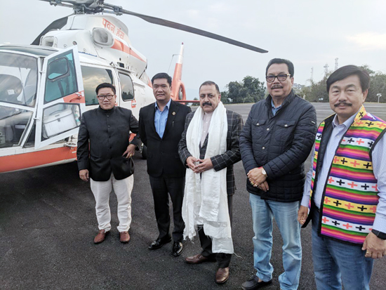 Union DoNER Minister Dr Jitendra Singh being officially received by Chief Minister Arunachal Pradesh, Pema Khandu and his cabinet colleagues on arrival at Itanagar on Wednesday.
