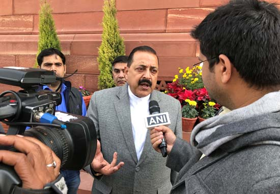Union Minister Dr Jitendra Singh speaking to media persons in Parliament House soon after the presentation of the Annual Budget on Thursday.