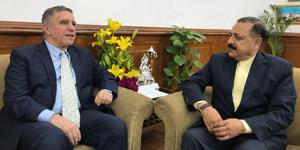 Israeli Ambassador to India, Daniel Carmon calling on Union DoNER Minister Dr Jitendra Singh, at New Delhi on Wednesday.