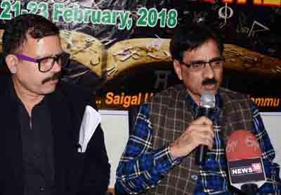 Secretary JKAACL, Aziz Hajini addressing a press conference at Jammu.