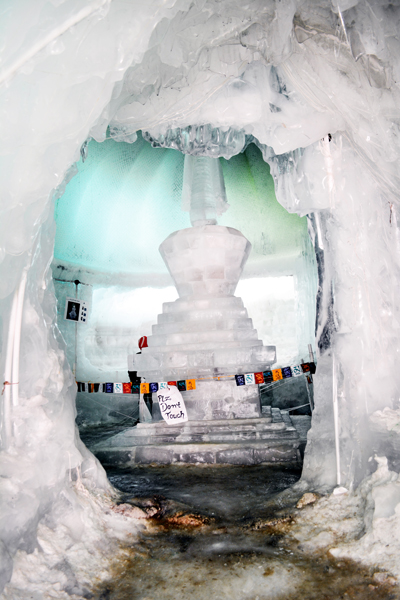 An artificial Ice Stupa made in Leh to conserve water. -Excelsior/ Morup Stanzin