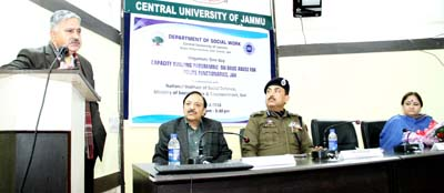 CUJ VC Prof Ashok Aima expressing his views while IG Jammu looks on during a programme.