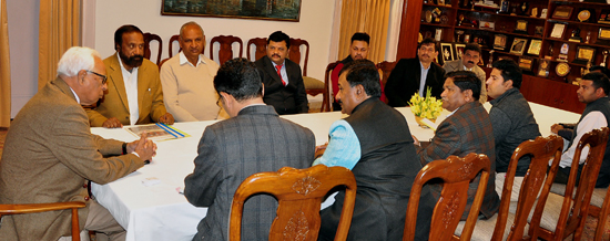 Governor N N Vohra interacting with a delegation at Jammu on Wednesday.