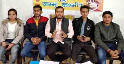 ABVP activists and UIET students addressing a press conference on Tuesday.