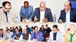 Minister for PHE, Sham Lal Choudhary chairing a meeting at Jammu on Monday.