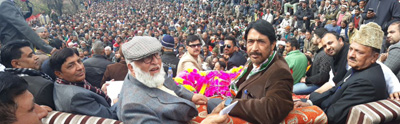 PCC chief G A Mir and others at Congress rally in Doda.