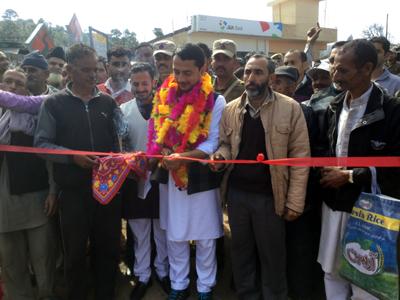 MLA Ramnagar, R S Pathania kick starting road work at Kulwanta on Monday.