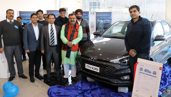 MLC Vikram Randhawa and others during launch of all new Elite i20 at Jammu on Wednesday.
