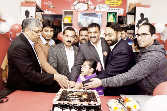 Inauguration of Mahindra spare parts showroom at Udhampur on Wednesday.