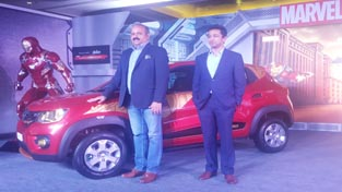 (L-R) Sumit Sawhney, CEO and MD, Renault India Operations and Abhishek Maheshwari, Country Head, Disney India during launch of KWID Super Hero Edition.