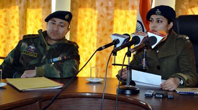 SSP Leh, Sargun Shukla and Additional SP Leh Stanzin Losal at a press conference at Leh. —Excelsior/Morup Stanzin