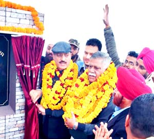 Minister for Rural Development, Abdul Haq along with MLA Marh, Sukhnandan Choudhary, laying foundation stone of Rurban cluster village Gole Gujral.