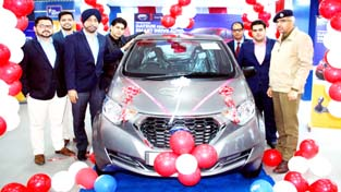 Dignitaries during launch of Datsun redi-GO AMT in Jammu on Monday.