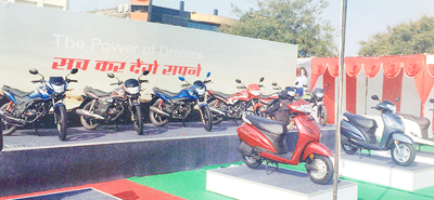 Honda two-wheelers on display at three-day carnival at JDA ground in Bahu Plaza, Jammu.
