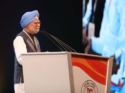 Former Prime Minister Dr Manmohan Singh addressing Congress' plenary session in New Delhi on Sunday.