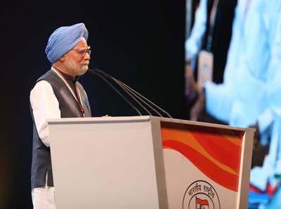 Former Prime Minister Dr Manmohan Singh addressing Congress' plenary session in New Delhi on Sunday.