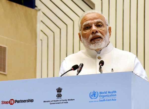 "Prime Minister, Narendra Modi delivering the inaugural address at the ""END TB"" Summit, in New Delhi on Tuesday"