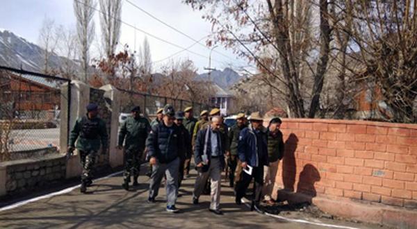Dineshwar Sharma in Kargil on Monday. -Excelsior/Murtaza