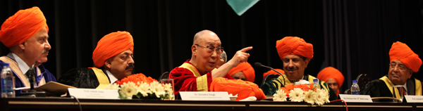 Dalai Lama delivering Convocation Address during first Convocation of Central University Jammu on Sunday. —Excelsior/Rakesh