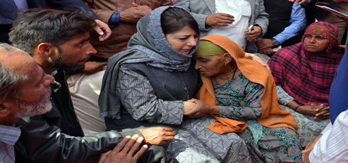 Chief Minister Mehbooba Mufti meeting Pakistan shelling victims at Bhimber Gali in Poonch on Monday.