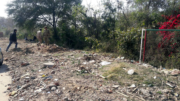 Land mafia breaks strong fencing of Forest Herbal Eco-Park near Mahamaya Temple on National Highway in Jammu. —Excelsior/Rakesh