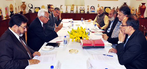 Governor N N Vohra chairing meeting to review issues relating to Kashmir and Jammu Universities on Tuesday.