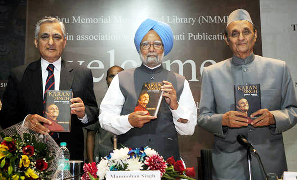 Former Chief Justice of India T S Thakur, former PM Dr Manmohan Singh and Dr Karan Singh releasing the book in New Delhi on Friday.