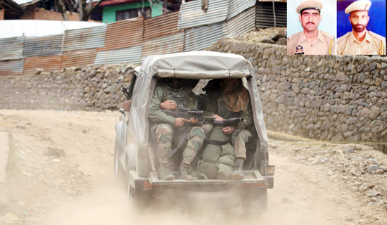 Troops rush to the site of encounter at Halmatpora, Kupwara on Wednesday. (Inset) two police martyrs. —Excelsior/Aabid Nabi