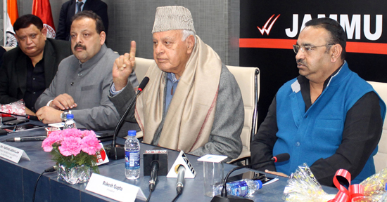 NC president, Dr Farooq Abdullah addressing JCCI members in Jammu on Saturday. —Excelsior/Rakesh